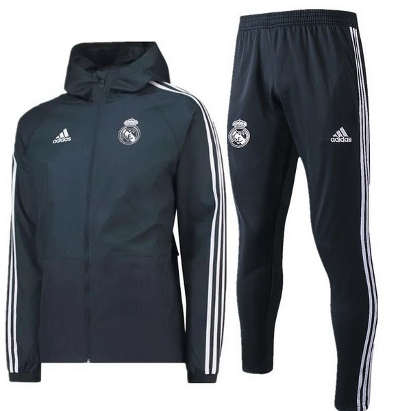 Coupe Vent Foot Real Madrid Ensemble Complet 2018-2019 Gris Marine