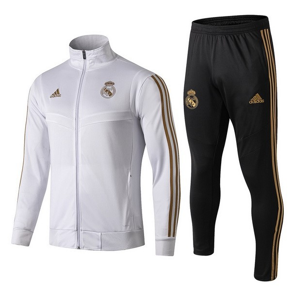 Survetement Foot Enfant Real Madrid 2019 2020 Blanc Jaune