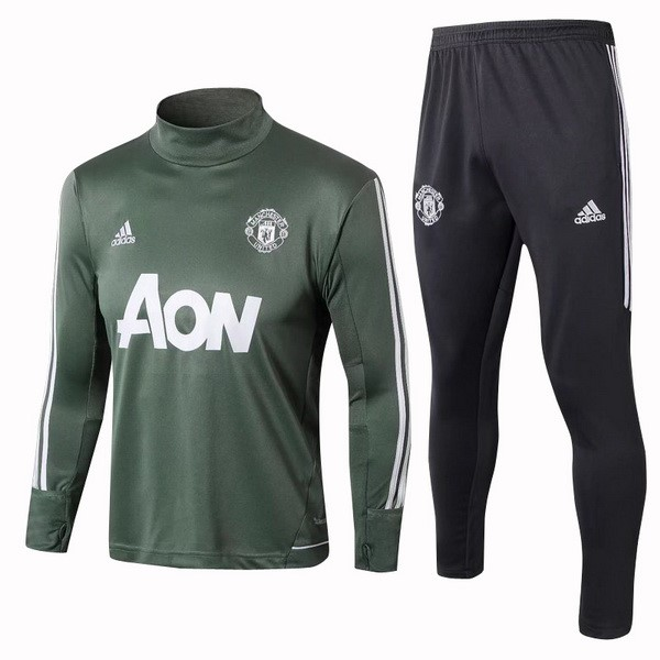 Survetement Foot Manchester United 2017 2018 Vert Blanc